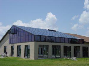 Glass roof, sliding doors